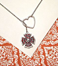 Firefighter, fireman red crystal rhinestone pendant and heart silver lariat necklace, handmade jewelry on Etsy, $25.00