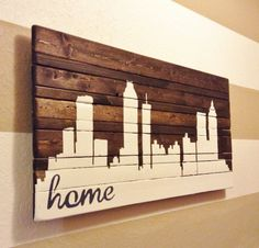 ANY CITY Hand Painted Atlanta Skyline by HartandHomeDesigns; do this with Nashville for the music/library room. Atlanta Skyline, Indianapolis Skyline, Nashville Skyline, Dallas Skyline, Pallet Art, Paint Designs, Wood Wall Art, House Painting, Diy Art
