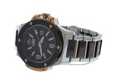 Oniss ON612-MBRBK Men's Watch Brown Dial Black Ceramic & Stainless Steel Band