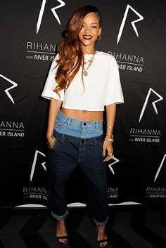 10 Iconic Denim Looks You Need To Steal For Fall #refinery29  http://www.refinery29.com/2014/08/73469/celebrity-denim-outfits-fall-2014#slide16  Rihanna's Patchwork Pair  Rihanna's a woman who marches to the beat of her own drum, which translates to sartorial choices that have been risqué, unexpectedly nostalgic, and somewhat off-kilter. So, naturally, even her basics are far from standard-fare. Case in point: this two-tone Rihanna for River Island pair she made memorable in 2013.