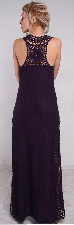 purple knit and crochet dress by CrochetDressTalita on Etsy