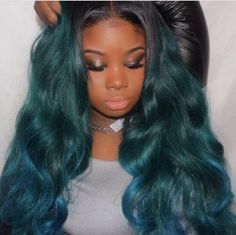 Long gorgeous Green and blue hair