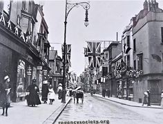 110 years ago, the flags were out for the coronation of Edward VII. This view looking west along the still narrow Western Road could have been any time from June 1902, when the coronation was first planned to take place, to August.