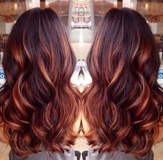 Red Highlights for Dark Brown Hair -Dark Brown Hair with Caramel Highlights and Red Lowlights