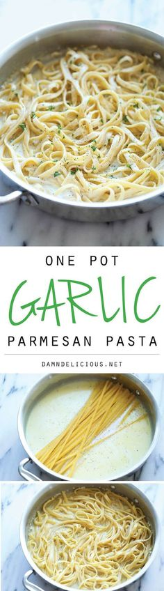 One Pot Garlic Parmesan Pasta. Anna approved. - The easiest and creamiest pasta made in a single pot - even the pasta gets cooked right in the pan! How easy is that?