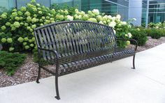 Ribbed Steel Park Bench | Premier Arched Style