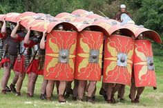 The Testudo or Roman turtle formation --soldiers carried their shields overhead and along the edges of the formation to repel arrow attacks