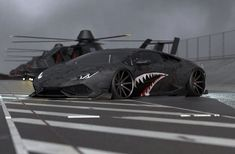 Shark-mouth Lamborghini Huracan with RAH-66 Comanches helicopters