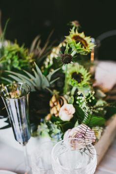 INDUSTRIAL WEDDING STYLING FROM HOPE & LACE | FLOWERS GLASSWARE TABLE SETTING