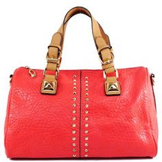 Amazon.com: New Arrival Designer Inspired Fashion Unique Buckle Handle Embossed Small Golden Round Rivet Studded Solid Tote Satchel Handbag Purse with Adjustable Shoulder Strap in Coral Red: Clothing $43.99