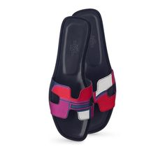 "Oran Hermes ladies' sandal in purple with ""Les Coupes"" silk print, navy lining and leather sole"