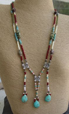 apache tears turquoise teardrops glass and silver beaded breast plate bib necklace handmade - Handmade Jewelry Design Ideas