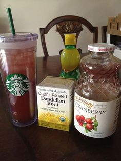 This is my own take on Jillian Michael's recipe to help you loose unwanted water weight. I bought the largest tumbler from starbucks and I fill up with water, add 1 Tbl Plain Cranberry juice, 1 Tbl Lemon Juice, 1 Dandelion Root tea bag and 1/4 tsp of