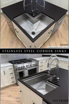 Corner Sink Kitchen, New Kitchen, Kitchen Interior, Home Interior Design, Hog Dog, Condo Design, Timber House, Modern Kitchen Design, Cool Kitchens