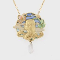 Louis Zorra French Art Nouveau Plique a Jour Enamel, Gold and Freshwater Pearl Pendant
