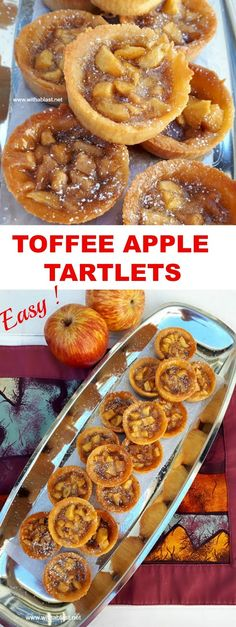 Buttery, sweet, mini Toffee Apple Tartlets are great to add to your sweet party platter or to serve as a quick to make dessert #ApplePie #Tartlets #AppleDessert