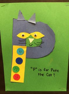 """""""P"""" is for Pete the Cat Letter P Crafts, Abc Crafts, Alphabet Crafts, Alphabet Art, Book Crafts, Kids Crafts, Preschool Letters, Alphabet Activities, Preschool Activities"""