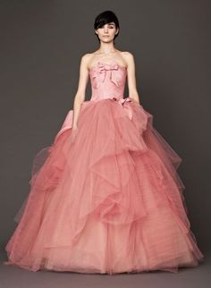 Or delight in coral. Gown by Vera Wang | 35 Wedding Gowns Every Disney Obsessed Bride Will Love