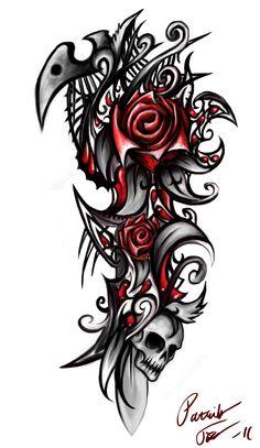 Tribal Heart Tattoos, Tattoo Tribal, Skull Rose Tattoos, Tribal Tattoos For Women, Flower Tattoos, Body Art Tattoos, Tattoos For Guys, Sleeve Tattoos, Arm Tattoos