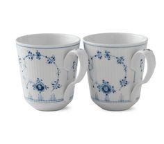Blue Fluted Plain Mug, 2-pack