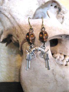 Skull with Gun Pistol Earrings by BeadToLive on Etsy, $12.00