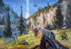 Halo Mini Art Print by lobzov Odst Halo, Halo Funny, Videogames, Halo Game, Oil Painting Pictures, Oil Paintings, Pokemon, Classic Video Games, Video Game Art