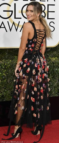 Over-the-top: Renee Bargh was all flowers and ribbons in this dress that was barely there and too much at the same time