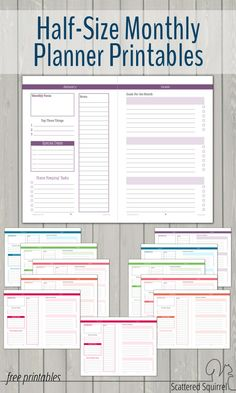 Half-Size monthly planner printables are a great way to stay on track all month long.