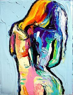 Nude oil painting abstract figure impasto art by Aja 6x8 Femme 315