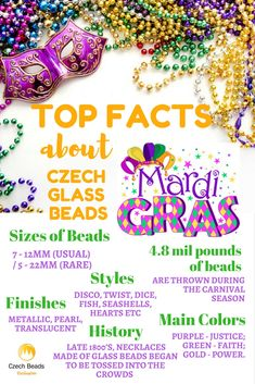 Mardi Gras Czech Glass Beads: finishes, sizes of beads, colors, history -  SAVE this for your next beading creations :)