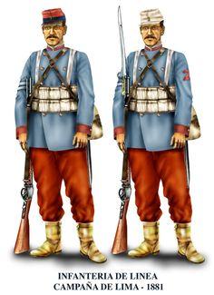 Historia militar de la Guerra del Pacífico Para la campaña de Lima, casi todos habían cambiado el uniforme. Se usó mucho la chaqueta gris, aunque también quedaron algunos con la azul. Los regimientos de línea siguieron usando pantalón rojo, aunque también había azules.