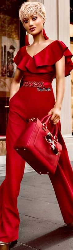 jumpsuits-for-women - Womens Fashion 2 Jumpsuit Elegante, Red Fashion, Womens Fashion, Street Chic, Street Style, Jumpsuits For Women, Latest Fashion Trends, Dress To Impress, Ideias Fashion