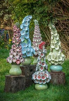 Ceramics by Frances Doherty at Studiopottery.co.uk - 2015. Dreaming Spires series (Hollyhocks, foxgloves, delphiniums) 27 inches high aprox