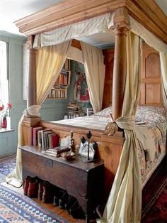 Love this canopy bed style, but with darker wood and a richer shade of drapes.