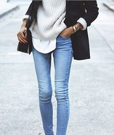 #graysweater #whiteblouse #blackcoat