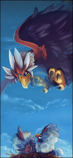 Wake up by =KeshiMeg on deviantART (Braviary & Rufflets)