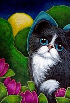 Art: TUXEDO FAIRY KITTEN CAT IN MY GARDEN by Artist Cyra R. Cancel #tuxedocatbreeds - See more Tuxedo Cats Facts at Catsincare.com