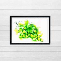 whimsical art print | kitchen print | grapes | green print | fine art print