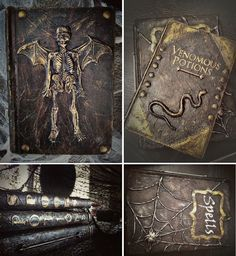 """Aged """"leather"""" spell & potion books for Halloween."""