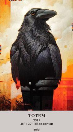 "Crows Ravens: ""Totem,"" by Craig Kosak. Crow Art, Raven Art, Bird Art, Gravure Photo, Illustration Photo, Quoth The Raven, Jackdaw, Crows Ravens, Animal Totems"