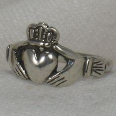 Claddagh ring, Irish friendship ring, Irish wedding. handfasting, Solid Sterling silver, Any size.. $42.00, via Etsy.