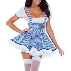 Cheap Sexy Plaids Ball-gown Blue Polyester Maid Cosplay Costume(One Piece Dress) Sexy Costumes For Women, Girl Costumes, Adult Costumes, Sexy Outfits, Cop Halloween Costume, Devil Halloween, Maid Cosplay, Halloween Disfraces, One Piece Dress