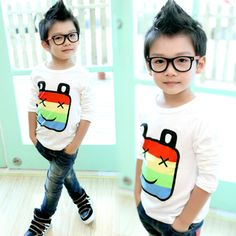 2013 autumn korean version of the new autumn paragraph baby boys and girls childrens clothing striped long-sleeved t-shirt bottoming shirt 6729 only $9.62USD a Piece