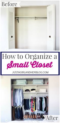 Helpful tips and tricks for organizing a small closet! Click over to the post for details!
