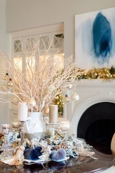 Blue Christmas Centerpiece Idea | Blue Christmas Decor