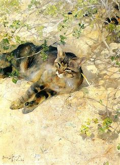 """Sleeping Jeppe"" by Bruno Liljefors (1860–1939) Swedish Wildlife Painter"