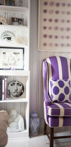 Love the striped purple chair with matching dot pillow.