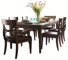 Woodlands Leg Dining Table with Arm and Side Chairs by HGTV Home Furniture Collection