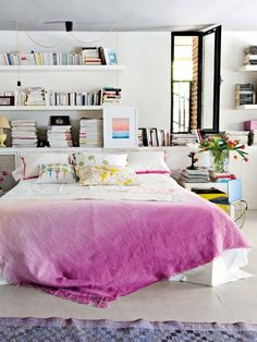 Great space. Love the bedding, it makes for a nice pop of color.