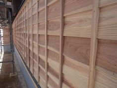 In Japan, lap siding is commonly done with no bevel. The boards are all equal thickness and a lap joint is cut into the top and bottom edge of each board. Facade House, Black White Red, Wood Architecture, Construction, Rustic, Texture Art, Beautiful Things, Villa, House Ideas